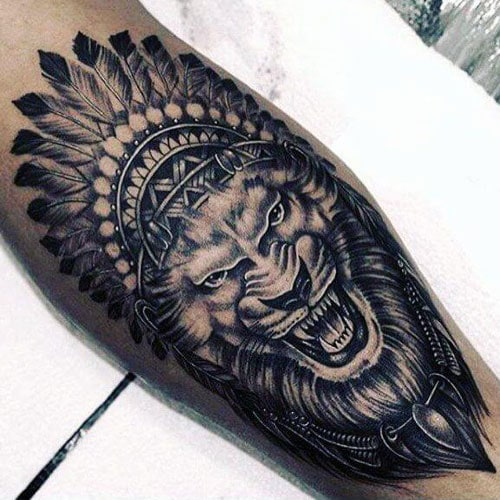 Black and Grey Lion Tattoo Designs