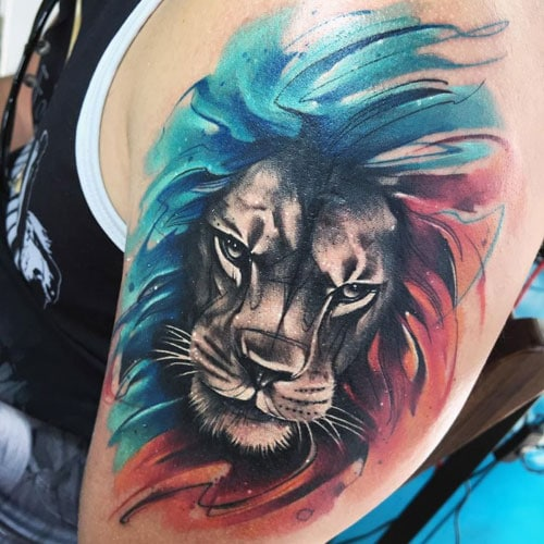 Colorful Lion Tattoo Designs