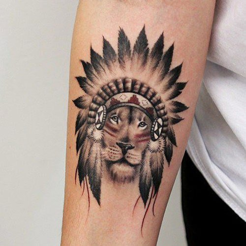 Cool Indian Lion Tattoo