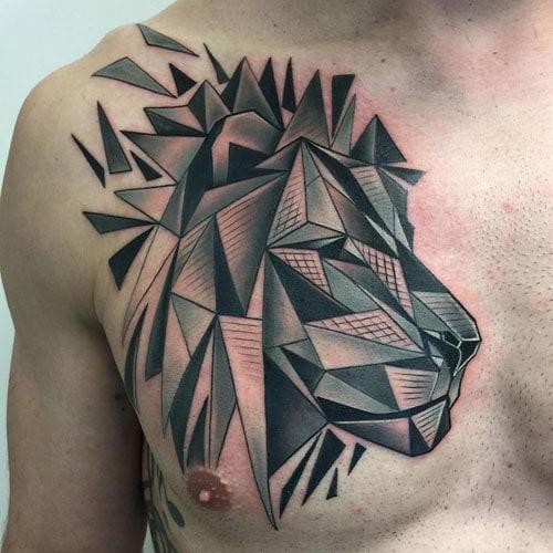 Geometric Shapes Lion Tattoo