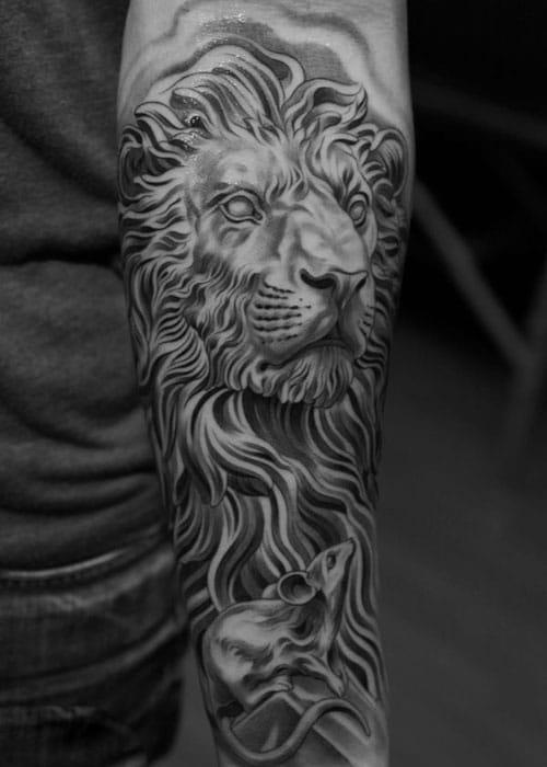 Half Sleeve Lion Tattoo Designs