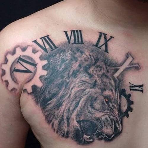 Lion Clock Tattoo