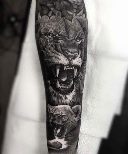 Lion Half Sleeve Tattoo
