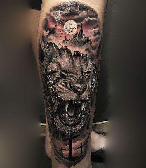 Lion Leg Tattoo