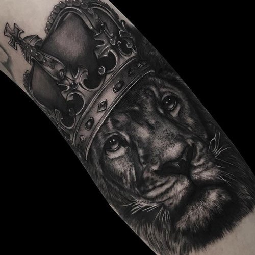 Lion Wearing Crown Tattoo