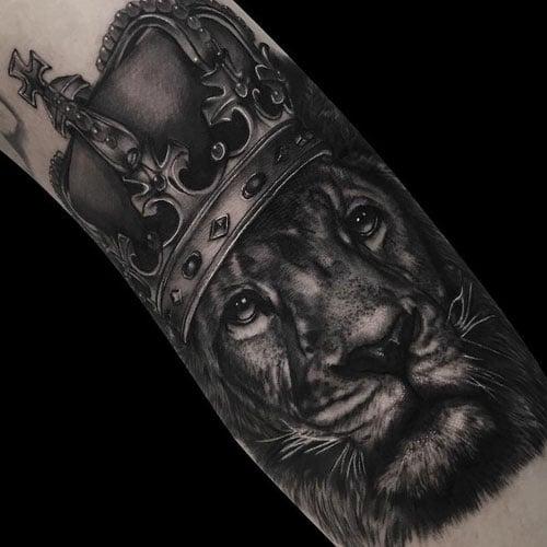 Lion Wearing Crown Tattoo