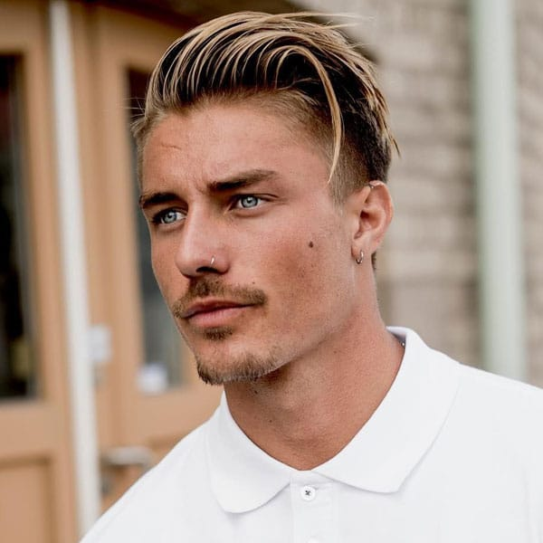 Long Side Swept Hairstyle + Taper Fade