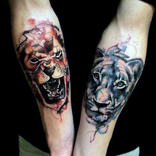 Matching Lion Tattoos