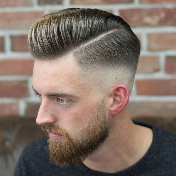 Pomp Fade + Side Part