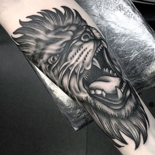 Roaring 3D Lion Tattoo Ideas