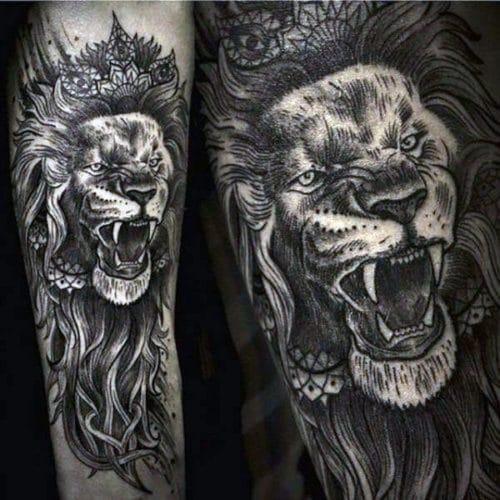 Roaring Lion Tattoo Designs For Men