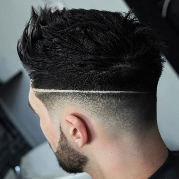 Bald Fade Haircut with Line