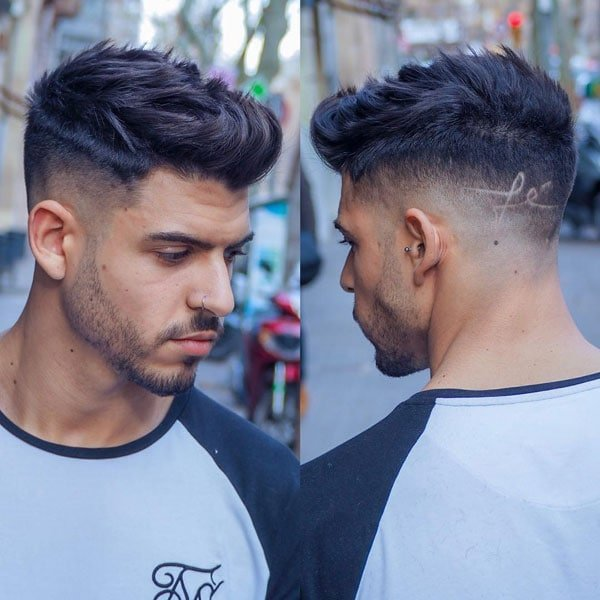 Temple Fade + Hair Design + Spiky Quiff + Beard