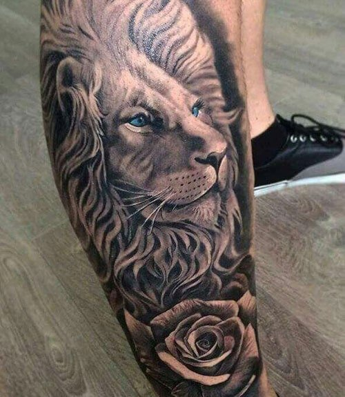 Unique Lion Leg Tattoo Designs