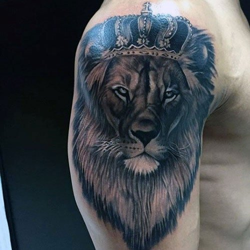 Upper Arm Lion Tattoo Design