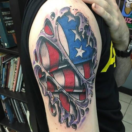 3D Ripped Skin American Flag Tattoo