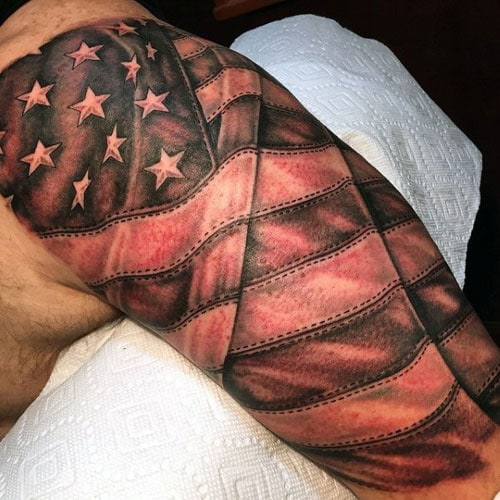 Amazing Half Sleeve Flag Tattoo
