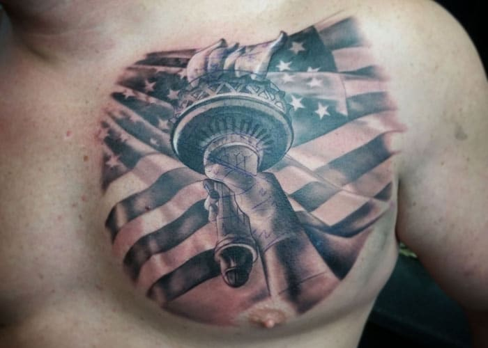 American Flag Chest Tattoo