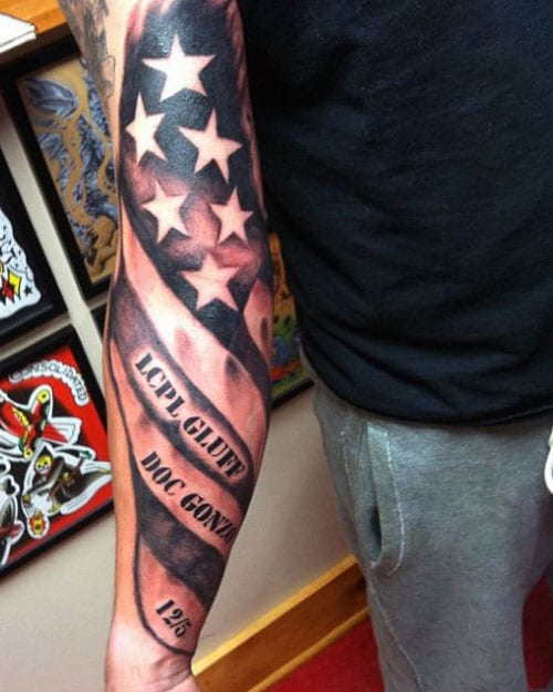 American Flag Military Arm Tattoo