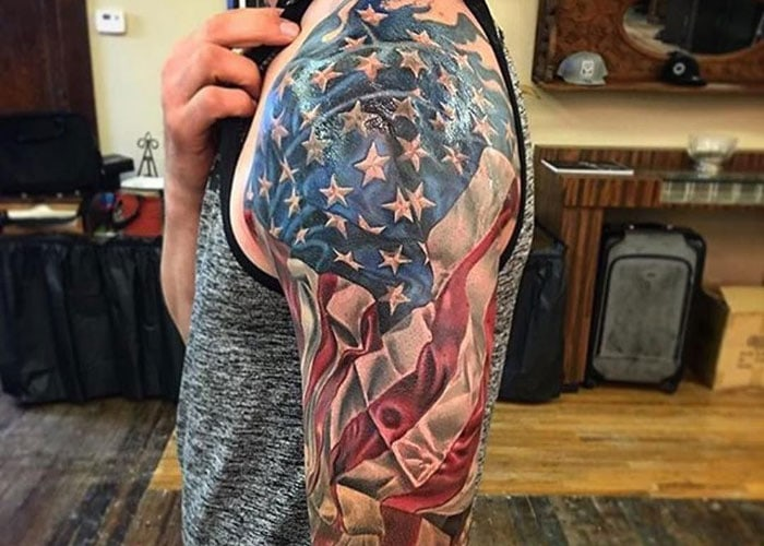 American Flag Shoulder Tattoo