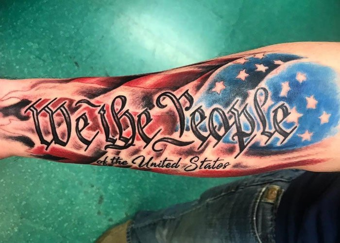 American Flag Sleeve Tattoo