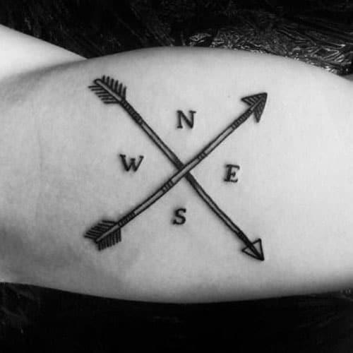 Arrow Compass Tattoo Designs
