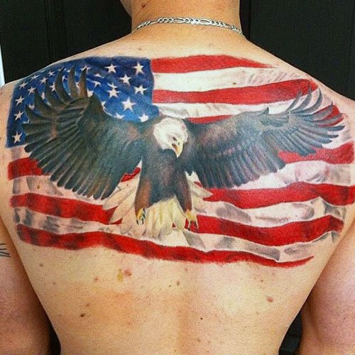 Badass Eagle American Flag Back Tattoo