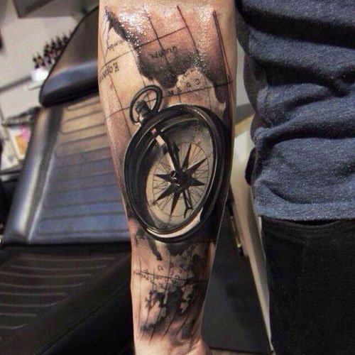 Best Forearm Compass Tattoo