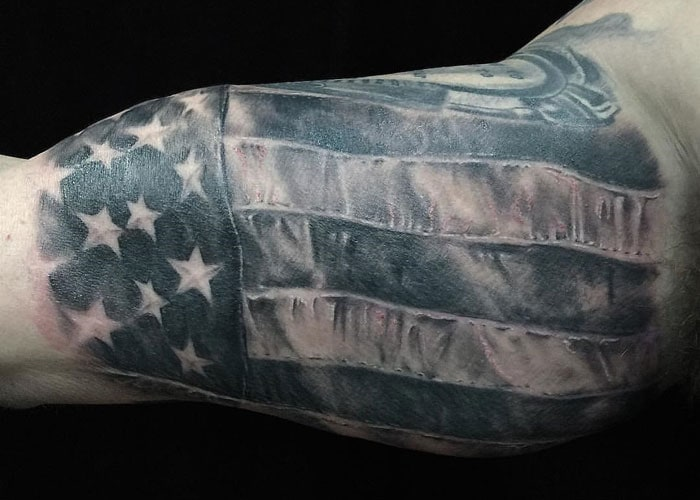 Black Grey White American Flag Tattoo