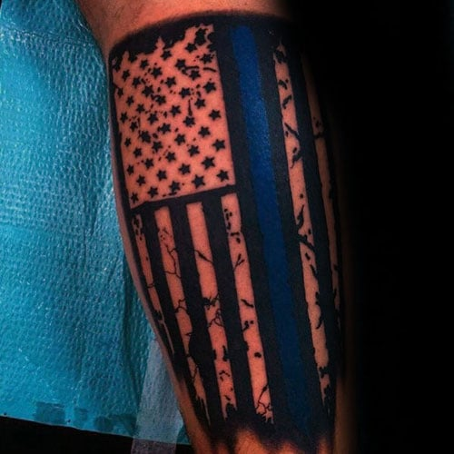 Black and White American Flag Tattoo with Blue Accent