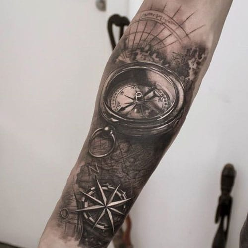 Black and White Compass Tattoo