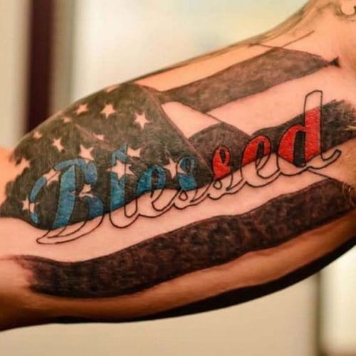 Blessed American Flag Bicep Tattoo