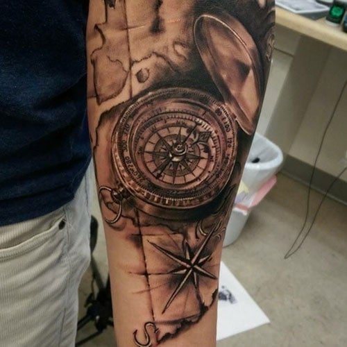 Classic Compass Tattoo Ideas For Guys