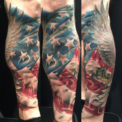 Colorful American Bald Eagle Flag Leg Tattoo Ideas