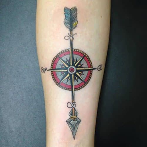 Colorful Compass Arrow Tattoos For Guys