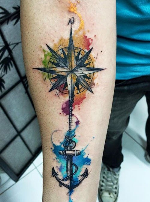 Colorful Compass Tattoos