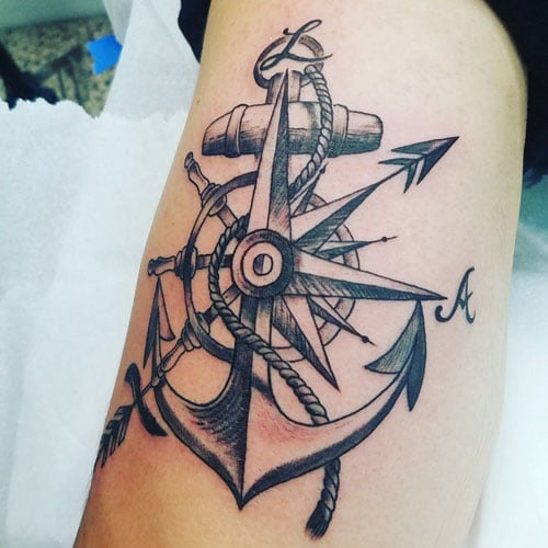 Compass Anchor Tattoo Designs