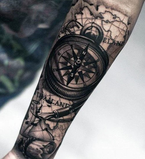 Compass Arm Tattoo