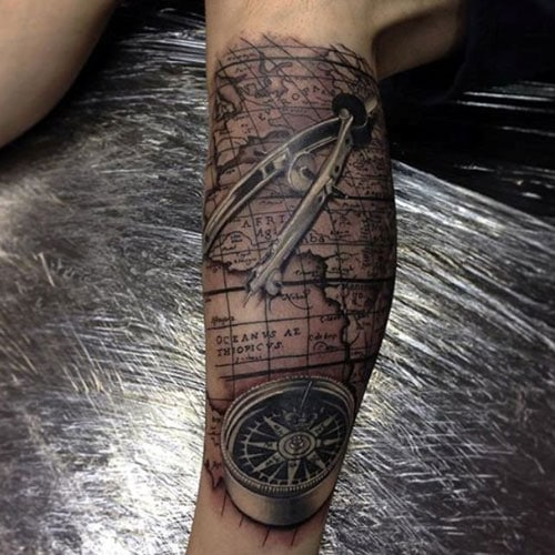 Compass Map Tattoo on Leg