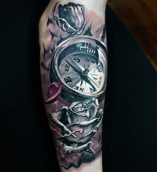 Compass Rose Sleeve Tattoo