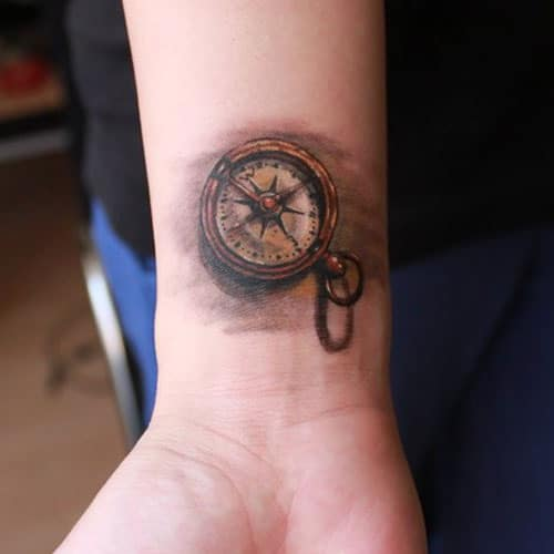 Compass Wrist Tattoo