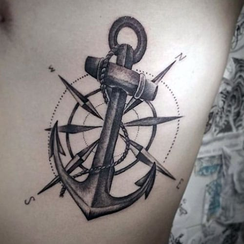 Compass and Anchor Tattoo Designs