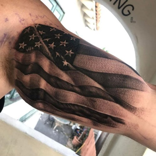 Cool American Flag Bicep Tattoo Designs