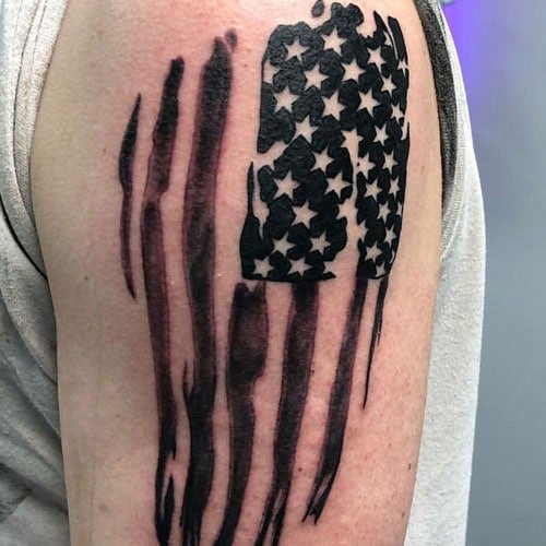 Cool Black American Flag Shoulder Tattoo