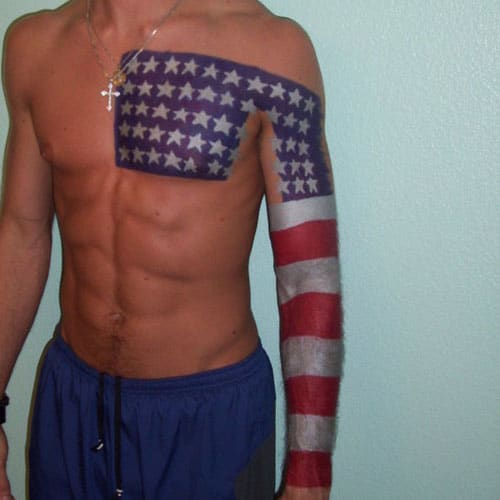 Cool Chest Arm American Flag Tattoo Designs For Men