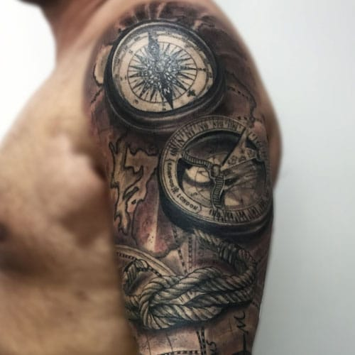 Cool Compass Shoulder Tattoo