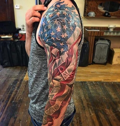 Cool Patriotic American Flag Sleeve Tattoo