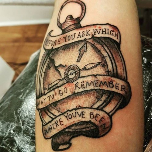Cool Quote Compass Tattoo