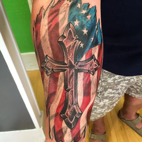 Cross with Flag Tattoo