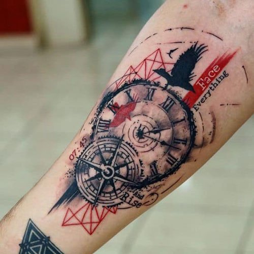 Forearm Compass Tattoo